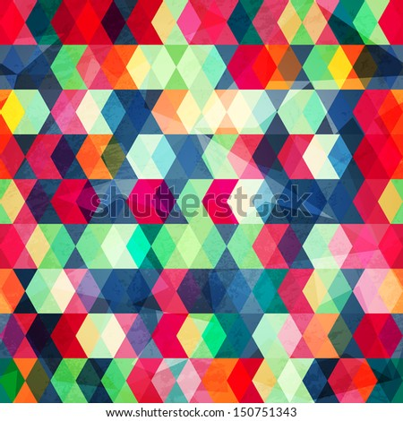 colored cubes seamless with grunge effect (raster version) - stock photo