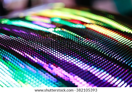 Colored curved LED smd screen - close up background - stock photo