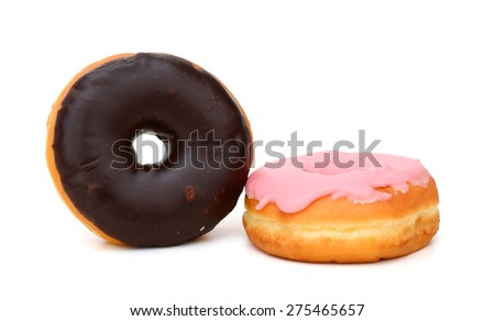 colored donuts isolated on white  - stock photo