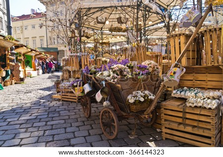 Colored eggs market at Am Hof square in Vienna just before easter, Austria - stock photo