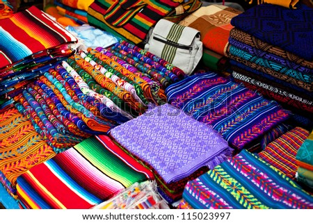 Colored fabrics - stock photo