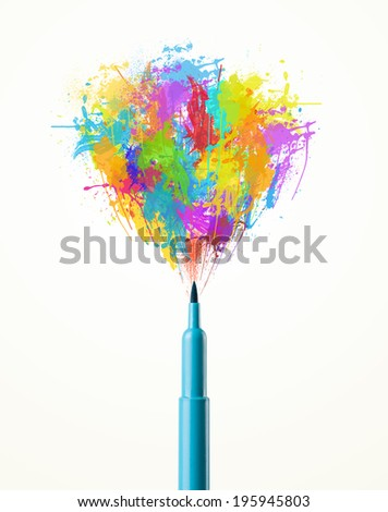 Colored felt pen close-up with colored paint splashes - stock photo