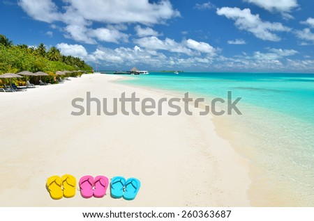 Colored flip flops on the sunny beach -- Tropical beach vacation and travel concept   - stock photo