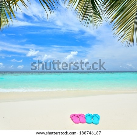 Colored flip flops on the tropical beach - stock photo