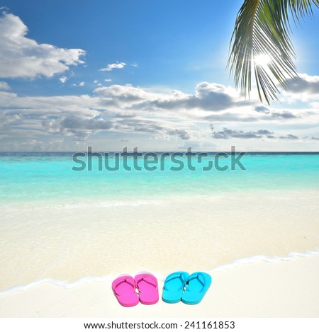 Colored flip-flops on the tropical beach -- Concept of spring break - stock photo