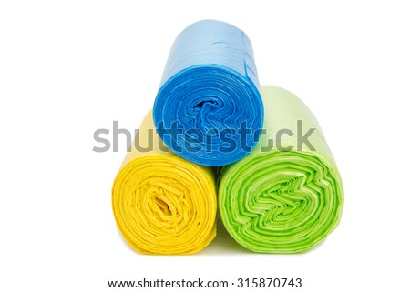 Colored garbage bags roll - stock photo