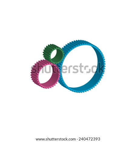 colored gears - stock photo