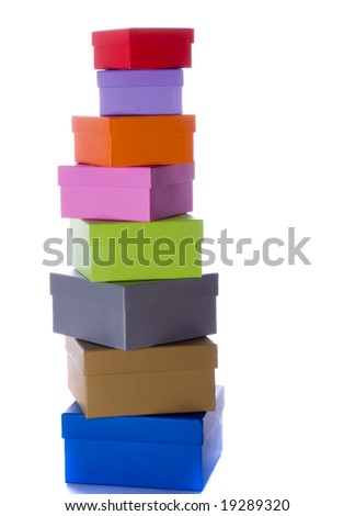 colored gift boxes on the white - stock photo