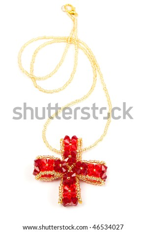 Colored glamour necklace isolated on a white background - stock photo
