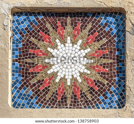 Colored glass-ceramic tiles on the wall - Lisbon, Portugal - stock photo