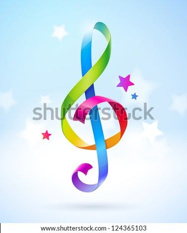 Colored glossy ribbons in the shape of treble clef - stock photo