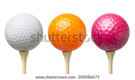 Colored golf balls on tee isolated on white background - stock photo