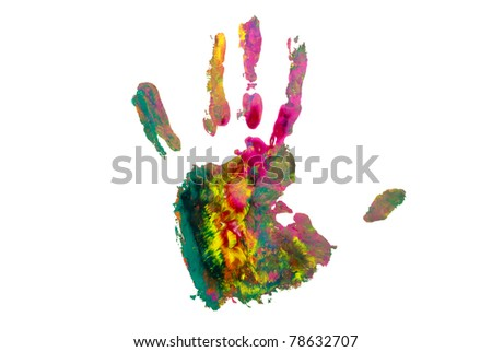 Colored hand on white background. - stock photo
