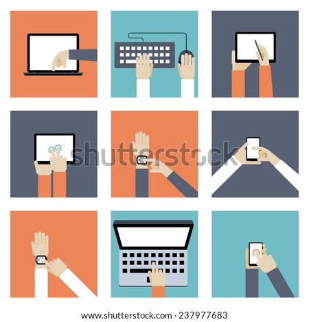 Colored Hands Holding Digital Devices such as Laptop  Mobile Phones  Tablets and Keyboard  in Flat Style Graphic Designs. - stock photo