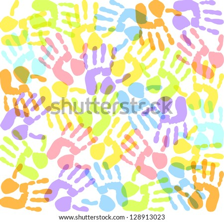 colored imprints hands - stock photo