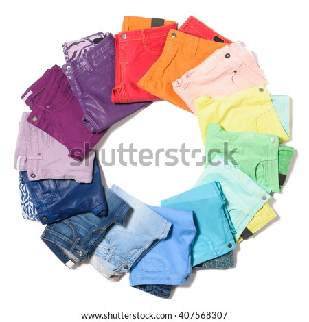 Colored jeans isolated on white background in circles - stock photo
