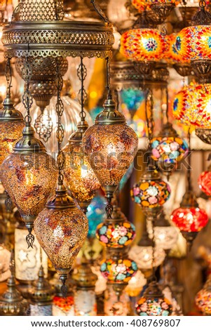 colored lamps hanging at the Grand Bazaar in Istanbul, Turkey - stock photo