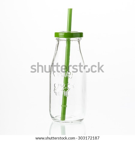 colored lid mason jar isolated - stock photo