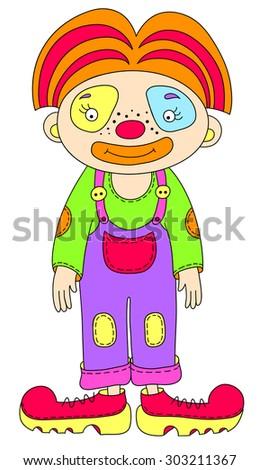 colored line art drawing of circus theme - clown, raster version illustration - stock photo