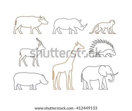 Colored line set of african animals. Outline isolated silhouettes african animals. Line icons gazelle, rhino, monkey and elephant. - stock photo