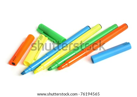 Colored markers on a white background - stock photo