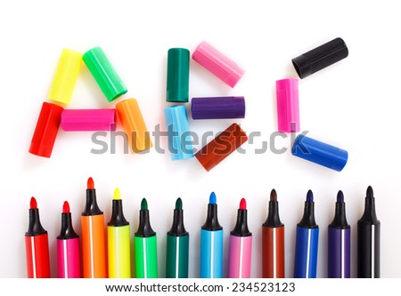 colored markers on the white background, ABC - stock photo