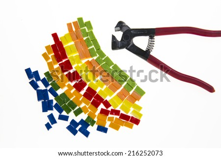 Colored mosaic tiles - stock photo