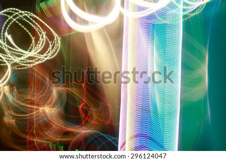 colored moving lights abstract  background - stock photo