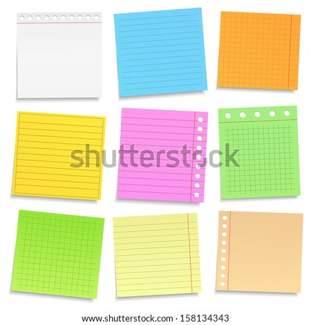 Colored Notebook Paper - stock photo