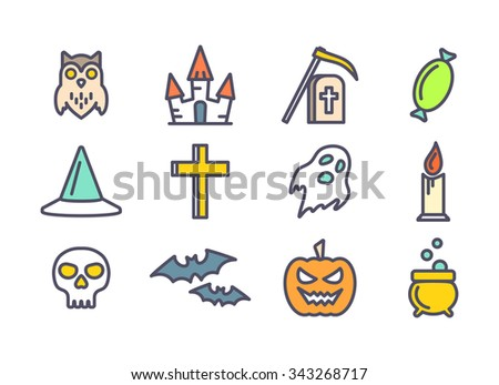 Colored outline icons set for Halloween party decoration. Cross, skull, bats and grave signs for design. Owl, ghost, pumpkin, castle and cauldron symbols - stock photo