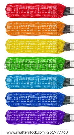 Colored paint brushes and stroke set, rainbow isolated on white - stock photo