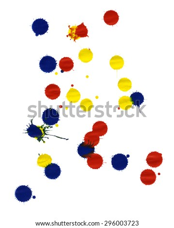 colored paint splatters in white back - stock photo