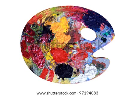 Colored Palette seems like a round head with eye and mouth - stock photo