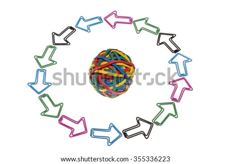 Colored paper clips and colored rubber ball of the triangle - stock photo