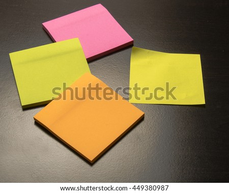 Colored paper for notes/Sticky Paper/Office stationery for memos and reminders - stock photo
