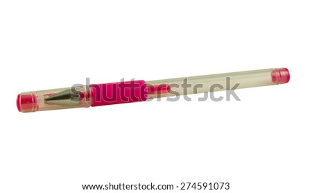 Colored pen isolated with clipping path on white background - stock photo