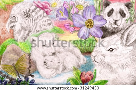 Colored Pencil Sketch of a collection of several types of animals in natural scenes - stock photo