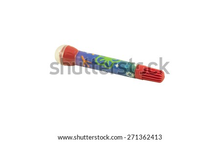 Colored pencils isolated with clipping path on white background - stock photo