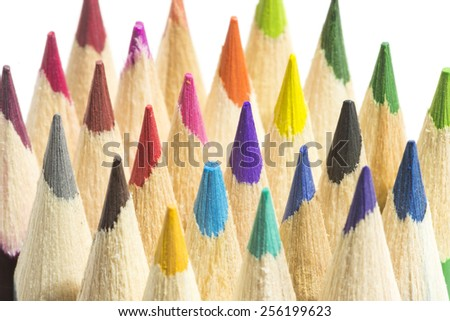 colored pencils on a white background - stock photo