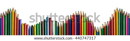 colored pencils panorama background - stock photo