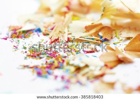 Colored pencils trash. Close-up horizontal photo - stock photo