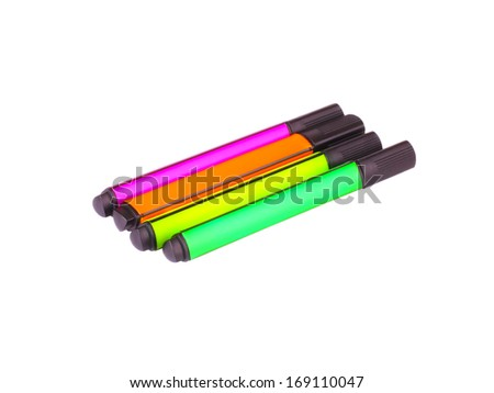 Colored pens on white background  - stock photo