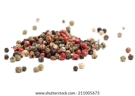 Colored Peppers Mix on the white background - stock photo
