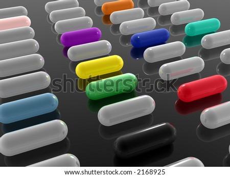 colored pills - stock photo
