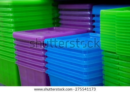 Colored plastic containers - stock photo