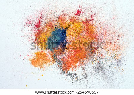 colored powder on white - stock photo