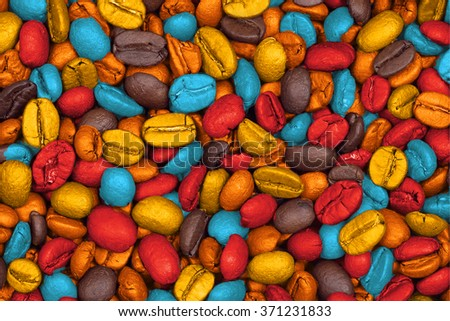 colored roasted coffee beans, can be used as a background - stock photo