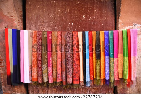 Colored scarves for sale - stock photo