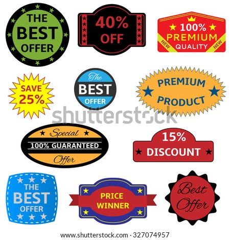 Colored seals-stickers on the white background. Raster version - stock photo