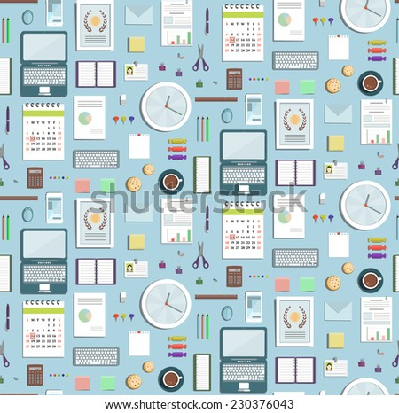 Colored Seamless Pattern Office Supplies Flat Style Business Wallpaper. Business objects tileable background on blue. Raster variant. - stock photo